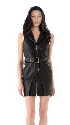 Short leather collar dress for women in back