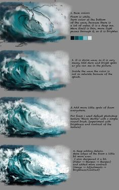 Wave Tutorial by Fievy on DeviantArtSupport me on patreon for mooooore www patreon com fievi aStormy water step by step painting tutorial.ART In G-Datenbots eingeschaltet ,How to Paint Waves with Acrylic Paint Digital Painting Tutorials, Digital Art Tutorial, Art Tutorials, Drawing Tutorials, Painting Lessons, Painting & Drawing, Water Drawing, Painting Grass, Water Art
