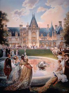 Biltmore Celebration (Asheville, North Carolina) by Werner Willis Art is R. Ashville Nc, Cornelius Vanderbilt, American Mansions, Safari, Biltmore Estate, Historic Homes, North Carolina, Disney, Paintings