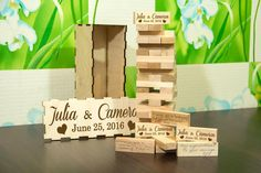 Personalised Wedding Jenga Wedding GuestBook by DecentCraft