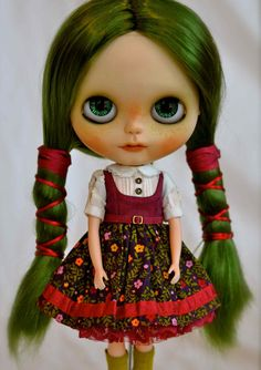 Ozzie a custom OOAK Blythe doll with green par RachelKCustomDolls