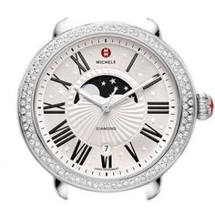 Michele Serein Moon Phase 40mm Watch Head with Round Silver Roman Numeral Dial and Date, Red Michele Logo and Crown, and Geometric Diamond Bezel on Stainless Steel Case Diamond .60cttw (Interchangeable with any 18mm Michele Serein bracelet or strap sold separately)