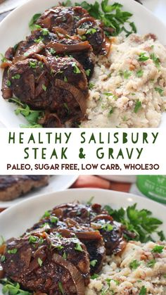 and Easy Salisbury Steak! You'll love this Paleo and version of the unhealthy TV dinner version!Healthy and Easy Salisbury Steak! You'll love this Paleo and version of the unhealthy TV dinner version! Best Paleo Recipes, Healthy Diet Recipes, Whole Food Recipes, Whole30 Recipes, Healthy Eating, Healthy Diet Plans, Yummy Recipes, Recipies, Favorite Recipes