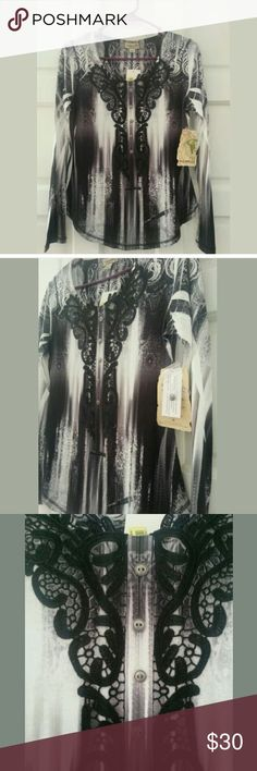 FINAL SALE NWT One Worls Blouse PRICE IS FIRM Size Small Brand new with tag Black and white color ONE WORLD Tops