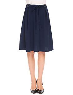 12dcc3a28e757 Shine Midi A-Line Flare Pleated Skirt Elastic High Waist Knee Length Flowy Flared  Vintage