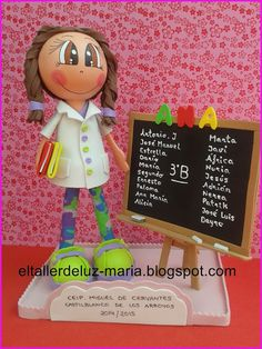 EL TALLER DE LUZ MARIA: FOFUCHA PROFESORA DE PRIMARIA PARA ANA Clay Crafts, Diy And Crafts, Diy Y Manualidades, Head Start, Teacher Appreciation, Ideas Para, Crochet Hats, Classroom, Teaching