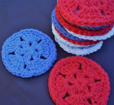 12 Star Facial Scrubbies Coasters Red White and Blue 100%