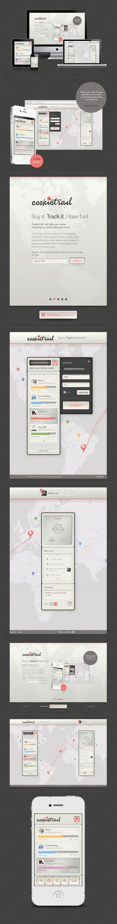 """CookieTrail by James Eduardo, via Behance *** """" With CookieTrail yout can track all your packages in one single place, share your package status, earn badges for great accomplishments and bet against your friends for extra points. """""""
