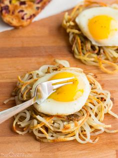 Hash Brown Nests Topped With Egg -- Like so many things with egg.. it's a nice baseline/foundation to play with.