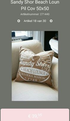 Riviera maison Summer 2016 sandy Shore beach lounge pillow cover