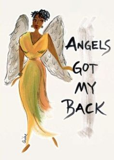 Angels Got My Back Magnet by Cidne Wallace | The Black Art Depot