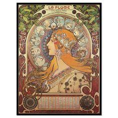 Art Nouveau vintage advertisement poster La Plume by OuttakePrints