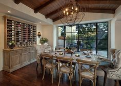 California Luxury Home & Photo Tour Pictures) love the wine cabinet! Wooden Dining Tables, Dining Table Chairs, Dining Room Furniture, Dining Rooms, Dining Area, American Houses, Loft, Dining Room Design, Kitchen Design
