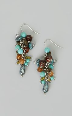 Silver & Turquoise Bead Cluster Earrings