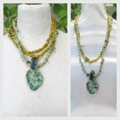Fiber Wraps Necklace Necklace cotton yarn with ceramic Long