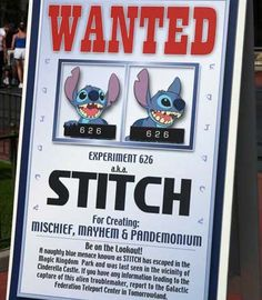 This would be so cute if instead of stitch you could put the birthday girl on the wanted poster!