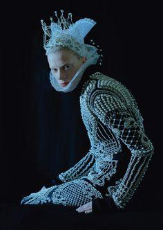 Kristen McMenamy wears Balmain Fall 2012 in 'Dame of Thrones' by Tim Walker for W Magazine, September 2012.