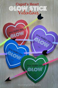 Cute idea: Glow Stick Valentines for Kids. See more creative Valentine ideas for kids on www.prettymyparty.com.
