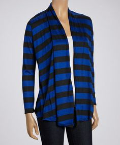 This Blue & Black Stripe Open Cardigan by Magic Fit is perfect! #zulilyfinds