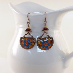 Blue and Red Flower Power Enameled Metal by CinLynnBoutique