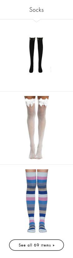 """Socks"" by sorryimjulia ❤ liked on Polyvore featuring intimates, hosiery, socks, black, tights, over the knee socks, over the knee hosiery, cotton thigh high socks, thigh-high socks and cotton hosiery"