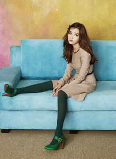 IU poses in green tights and heels for Y'sb