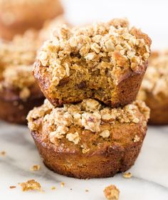 Banana Nut Muffins with a Crumb Topping! Paleo, no refined sugar, gluten free, grain free