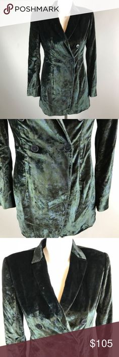 """Giorgio Armani Collezioni Velvet Button Jacket 4 Giorgio Armani Collezioni Velvet Black Green Button Jacket Size 4 Color Shift  Really amazing blazer.  The color shifts slightly from a black to green and has an abstract pattern.  In certain lights it appears mostly black but in the light the green really shows through.  A very interesting blend.  Tagged size 4 but please see measurements to ensure a proper fit. Measured flat unstretched. Armpit to armpit   18"""" Length   23 1/2"""" Sleeve   30""""…"""