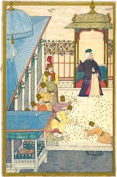 """Sultan Ahmet III. verteilt Goldmünzen Auf der Terasse im vierten Hof des Topkapi-Palastes wirft Ahmet III. anlässlich des Beschneidungsfestes seiner Söhne seinen Untergebenen Goldmünzen zu. Levni, osmanische Miniaturmalerei, aus dem """"Surname-ı Vehbi"""" (folio 174b), um 1720."""