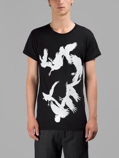 ANN DEMEULEMEESTER Ann Demeulemeester Men'S Black Birds T-Shirt. # anndemeulemeester #cloth #