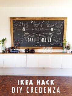 ikea hack: DIY credenza and chalkboard 玄関脇の棚×チョーク