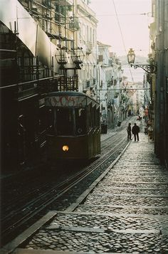 Lisbon, Portugal. Cable trams, or funiculars, are a common sight in Lisbon.