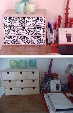 Desk Box Organizer Ideas | Ccover the Drawers with Graham Paper | The LuxFurniture