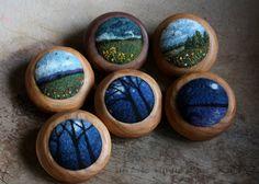 needle felted landscape brooches by Lisa Jordan of lil fish studios #felt #fiberart