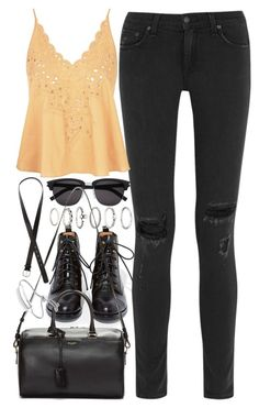 """""""Outfit with a tank top"""" by ferned ❤ liked on Polyvore featuring Jeffrey Campbell, rag & bone, Topshop, Yves Saint Laurent, Forever 21, H&M and Monica Vinader"""