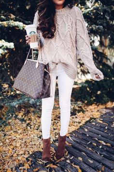 Would love a light gray chunky cable knit sweater to go with my white skinny jeans and my chunky heel booties!