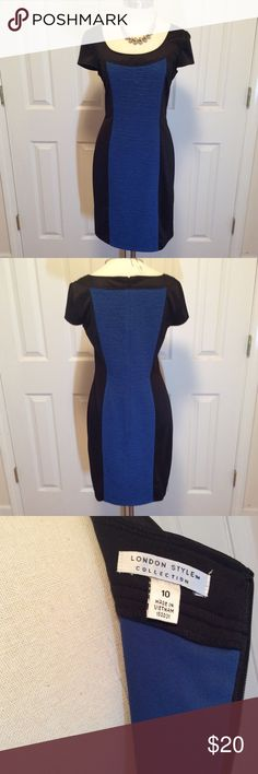 """London Style collection black & blue color block London Style collection black & blue color block size 12. 95% polyester 5% spandex,  bust 34"""", length 49"""" EUC Questions??? Please ask London Times Dresses Midi"""