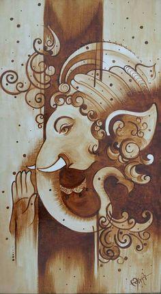 Lord Ganesha Paintings, Krishna Painting, Arte Ganesha, Ganesha Sketch, Coffee Painting Canvas, Kerala Mural Painting, African Art Paintings, Buddha Art, Mural Art