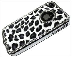 Luxury Unique Best Leopard Print Czech Rhinestone Case Cover for Apple Iphone 4 4g Crystal - Black