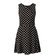 Black Polka Dot Print Belted Skater Dress ($14) ❤ liked on Polyvore featuring dresses, skater dresses, mixed print dress, retro dresses, print skater dress and round neck sleeveless dress