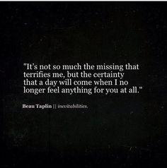 Beau Taplin ~  Inevitabilities ...letting go quote