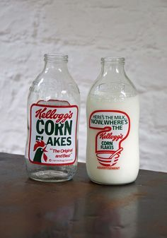 Only recall adverts on milk bottles in the eighties. Don't remember the older, taller milk bottle having anything on them other than the embossed name of the dairy. Found it very odd to have brightly coloured adverts on the bottles Vintage Labels, Vintage Ads, Vintage Posters, Vintage Packaging, Vintage Stuff, Vintage Antiques, 1980s Childhood, My Childhood Memories, Retro Ads