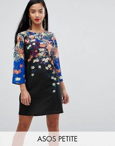ASOS PETITE Mini Shift Dress In Floral Print