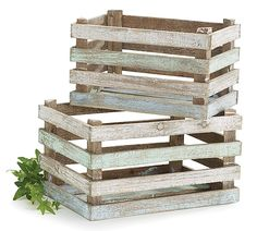 """#burtonandburton Nested wooden crate decor with blue, white, and green rustic finish.8 1/4""""H X 13 1/4""""W X 8 3/4"""" D.  9""""H X 15 1/4""""W X 11""""D.1 nested set of 2."""