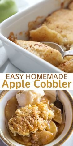 This old-fashioned Apple Cobbler is one of my FAVORITE fall desserts. It's made with fresh apples in a cinnamon sauce, with a delicious cake-like topping. Can an apple cider vinegar each day keep carefully the doctor away? Apple Recipes Easy, Apple Dessert Recipes, Köstliche Desserts, Fall Recipes, Baking Recipes, Desserts With Pears, Apple Deserts Easy, Easy Fall Desserts, Green Apple Recipes