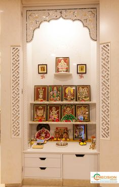 Temple Design For Home, Home Temple, House Furniture Design, Home Interior Design, House Design, Pooja Room Door Design, Puja Room, Cupboard Design, Prayer Room