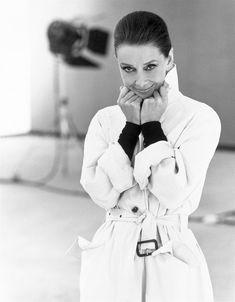 Classic trench coat.  Audrey Hepburn.