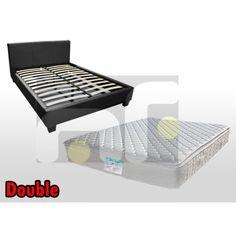 MONDEO Double Size PU LEATHER BEDFRAME + Memory Foam Pillow Top Mattress (MPT)