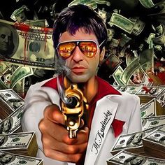 All Synthwave retro and retrowave style of arts Scarface Quotes, Scarface Poster, Scarface Movie, Real Gangster, Mafia Gangster, Gangster Movies, Don Corleone, Arte Black, Cholo Art