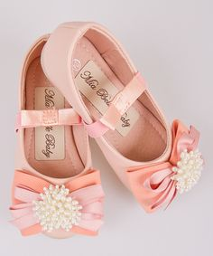 Pink Pearl Ribbon Bow Ballet Flat by Mia Belle Baby #zulily #zulilyfinds